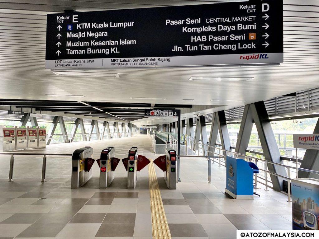 Pasar Seni LRT Exit gate to KTM Kuala Lumpur Station
